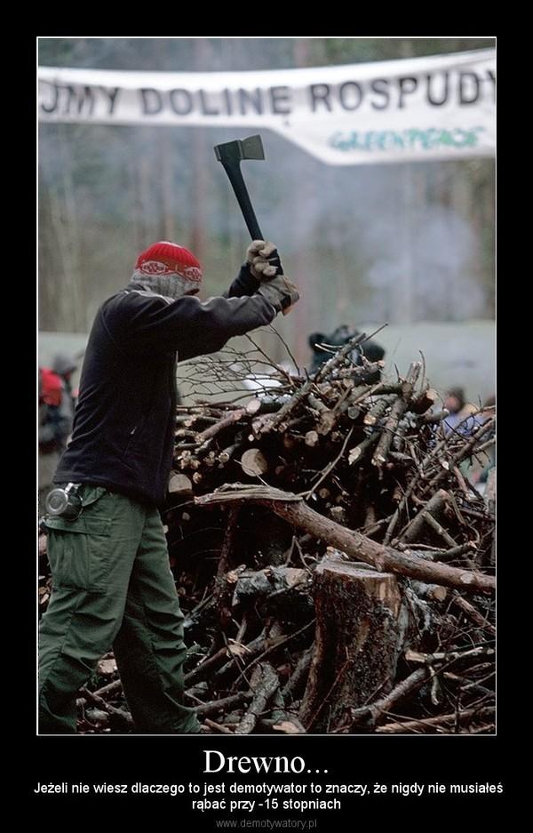 Drewno... –  Jeżeli nie wiesz dlaczego to jest demotywator to znaczy, że nigdy nie musiałeśrąbać przy -15 stopniach