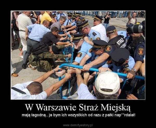 W Warszawie Straż Miejską –  mają łagodną.. ja bym ich wszystkich od razu z pałki nap**rdalał!