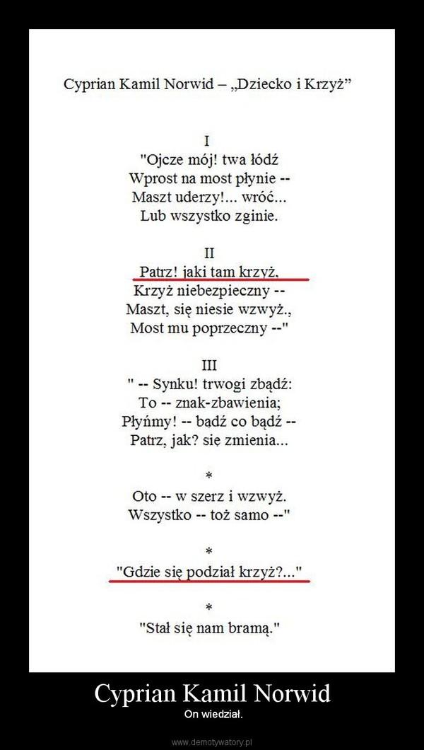 Cyprian Kamil Norwid –  On wiedział.