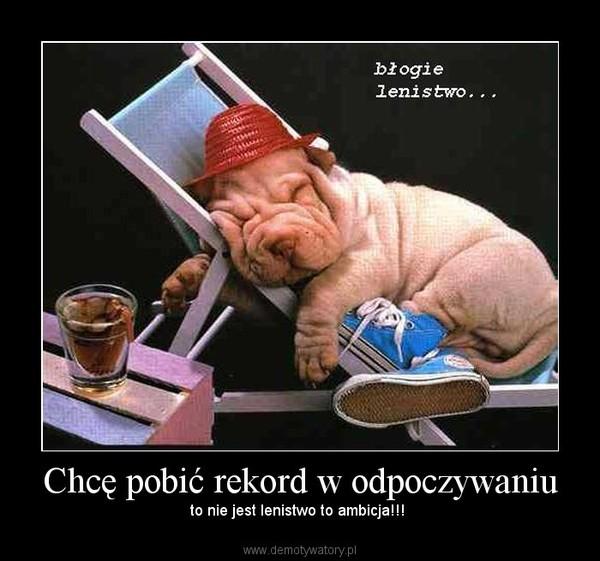Chcę pobić rekord w odpoczywaniu – to nie jest lenistwo to ambicja!!!
