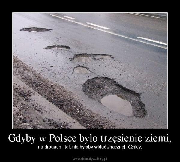 Gdyby w Polsce było trzęsienie ziemi, – na drogach i tak nie byłoby widać znacznej różnicy.