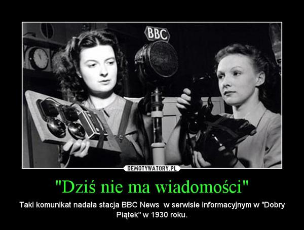 """""""Dziś nie ma wiadomości"""" – Taki komunikat nadała stacja BBC News  w serwisie informacyjnym w """"Dobry Piątek"""" w 1930 roku."""