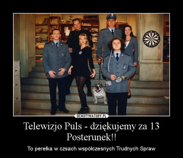 Telewizjo Puls - dziękujemy za 13 Posterunek!! – To perełka w czsach współczesnych Trudnych Spraw