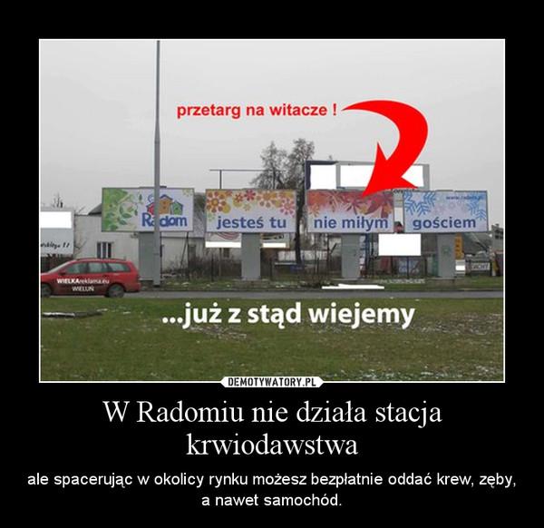W Radomiu nie działa stacja krwiodawstwa – ale spacerując w okolicy rynku możesz bezpłatnie oddać krew, zęby, a nawet samochód.