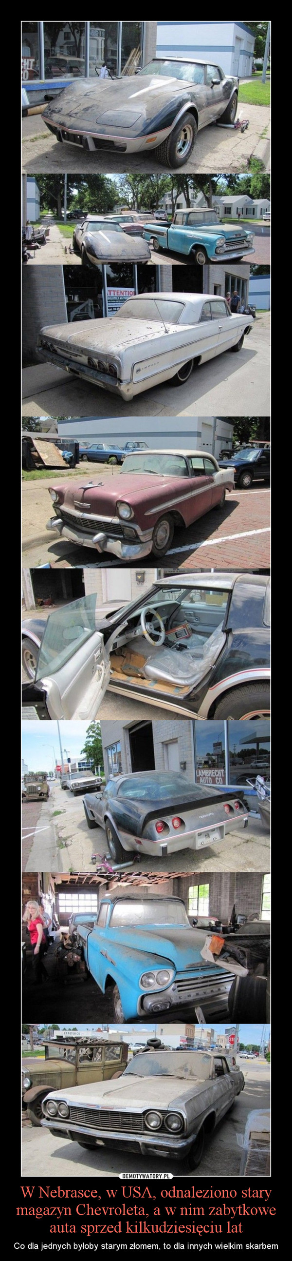 W Nebrasce, w USA, odnaleziono stary magazyn Chevroleta, a w nim zabytkowe auta sprzed kilkudziesięciu lat – Co dla jednych byłoby starym złomem, to dla innych wielkim skarbem