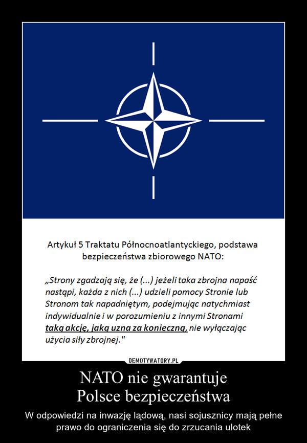 NATO nie gwarantujePolsce bezpieczeństwa – W odpowiedzi na inwazję lądową, nasi sojusznicy mają pełne prawo do ograniczenia się do zrzucania ulotek