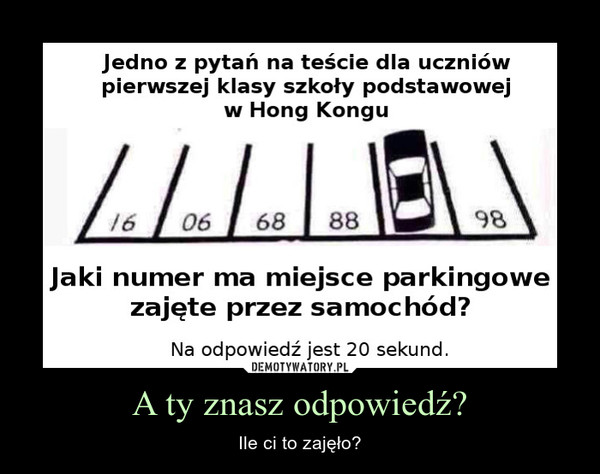 A ty znasz odpowiedź? – Ile ci to zajęło?