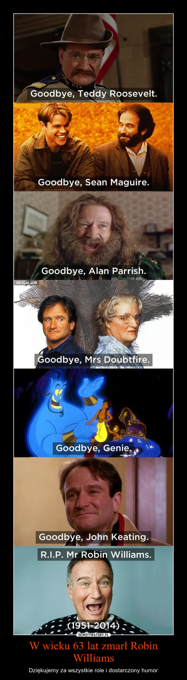 W wieku 63 lat zmarł Robin Williams – Dziękujemy za wszystkie role i dostarczony humor