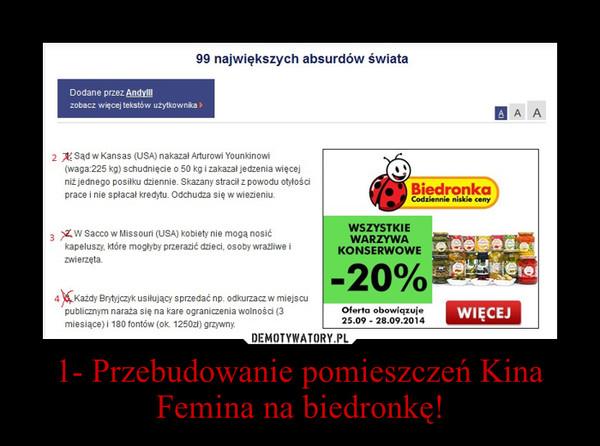 1- Przebudowanie pomieszczeń Kina Femina na biedronkę! –