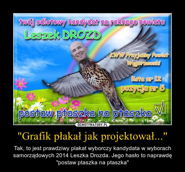 """""""Grafik płakał jak projektował..."""" – Tak, to jest prawdziwy plakat wyborczy kandydata w wyborach samorządowych 2014 Leszka Drozda. Jego hasło to naprawdę """"postaw ptaszka na ptaszka"""""""