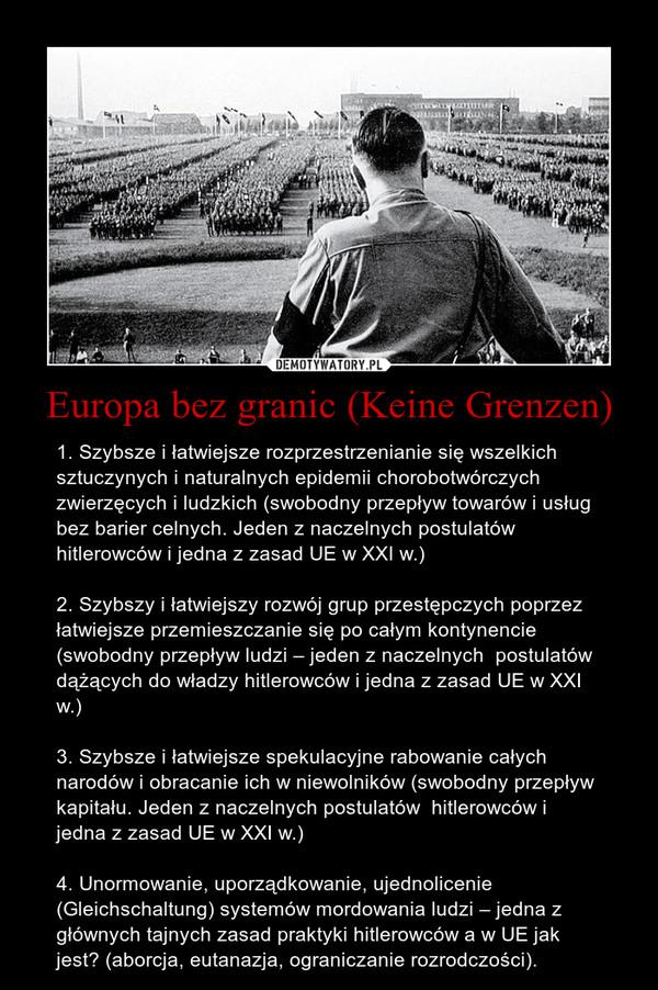 Europa bez granic (Keine Grenzen) – 1. Szybsze i łatwiejsze rozprzestrzenianie się wszelkich sztuczynych i naturalnych epidemii chorobotwórczych zwierzęcych i ludzkich (swobodny przepływ towarów i usług bez barier celnych. Jeden z naczelnych postulatów hitlerowców i jedna z zasad UE w XXI w.)2. Szybszy i łatwiejszy rozwój grup przestępczych poprzez łatwiejsze przemieszczanie się po całym kontynencie (swobodny przepływ ludzi – jeden z naczelnych  postulatów dążących do władzy hitlerowców i jedna z zasad UE w XXI w.)3. Szybsze i łatwiejsze spekulacyjne rabowanie całych narodów i obracanie ich w niewolników (swobodny przepływ kapitału. Jeden z naczelnych postulatów  hitlerowców i jedna z zasad UE w XXI w.)4. Unormowanie, uporządkowanie, ujednolicenie (Gleichschaltung) systemów mordowania ludzi – jedna z głównych tajnych zasad praktyki hitlerowców a w UE jak jest? (aborcja, eutanazja, ograniczanie rozrodczości).