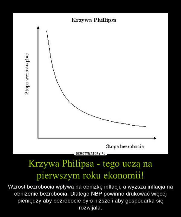 Krzywa Philipsa - tego uczą na pierwszym roku ekonomii! – Wzrost bezrobocia wpływa na obniżkę inflacji, a wyższa inflacja na obniżenie bezrobocia. Dlatego NBP powinno drukować więcej pieniędzy aby bezrobocie było niższe i aby gospodarka się rozwijała.