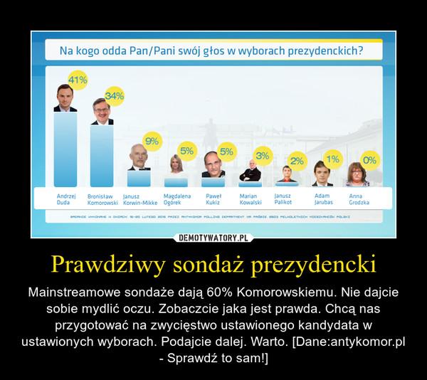 Prawdziwy sondaż prezydencki – Mainstreamowe sondaże dają 60% Komorowskiemu. Nie dajcie sobie mydlić oczu. Zobaczcie jaka jest prawda. Chcą nas przygotować na zwycięstwo ustawionego kandydata w ustawionych wyborach. Podajcie dalej. Warto. [Dane:antykomor.pl - Sprawdź to sam!]