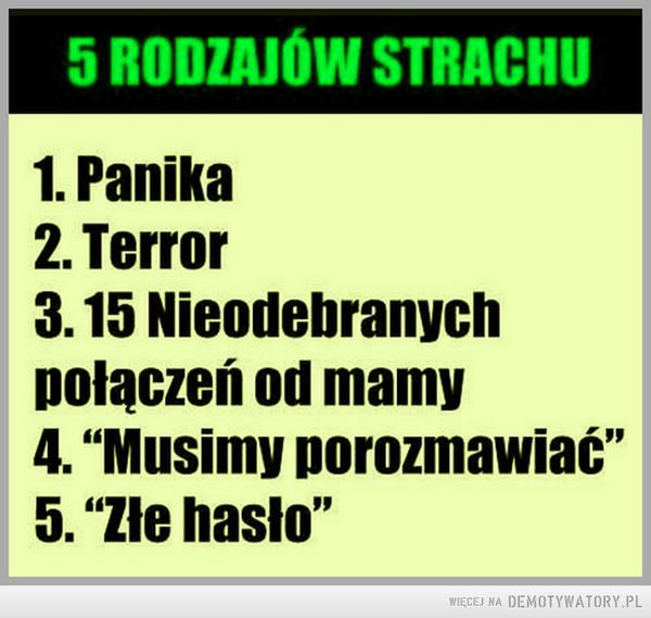 5 rodzajów strachu –