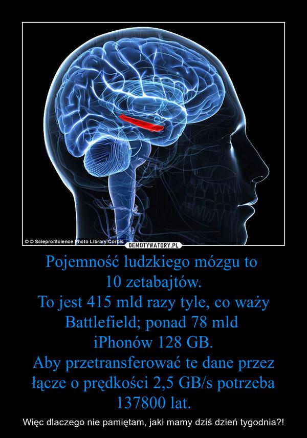 Pojemność ludzkiego mózgu to 10 zetabajtów.To jest 415 mld razy tyle, co waży Battlefield; ponad 78 mld iPhonów 128 GB.Aby przetransferować te dane przez łącze o prędkości 2,5 GB/s potrzeba 137800 lat. – Więc dlaczego nie pamiętam, jaki mamy dziś dzień tygodnia?!