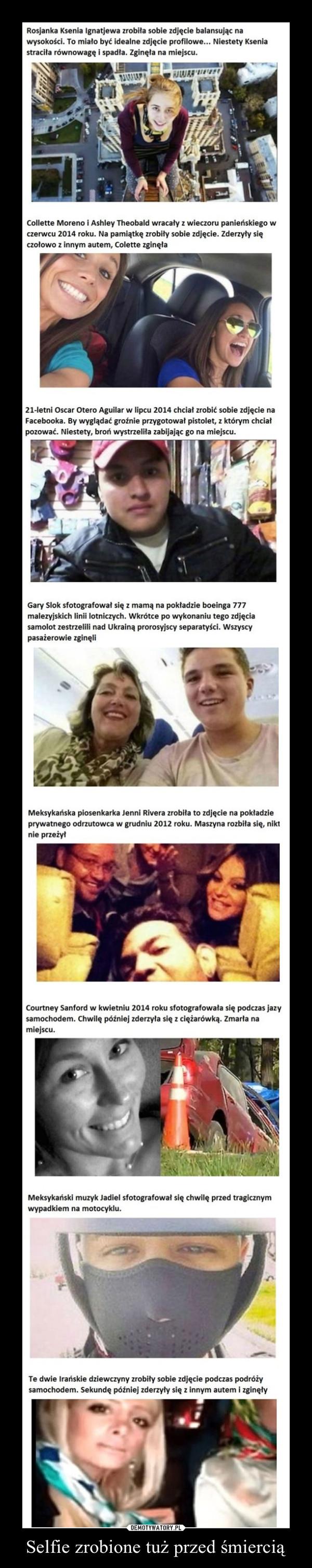 Selfie zrobione tuż przed śmiercią –