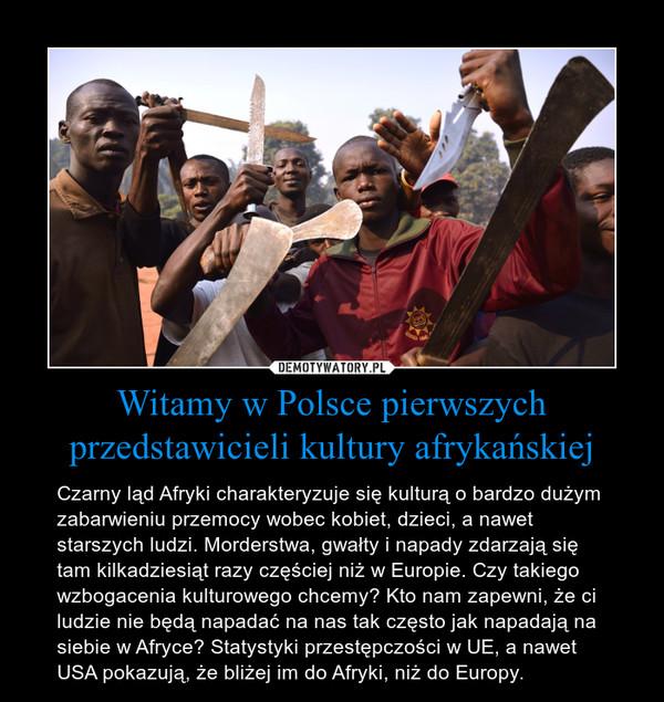 Witamy w Polsce pierwszych przedstawicieli kultury afrykańskiej – Czarny ląd Afryki charakteryzuje się kulturą o bardzo dużym zabarwieniu przemocy wobec kobiet, dzieci, a nawet starszych ludzi. Morderstwa, gwałty i napady zdarzają się tam kilkadziesiąt razy częściej niż w Europie. Czy takiego wzbogacenia kulturowego chcemy? Kto nam zapewni, że ci ludzie nie będą napadać na nas tak często jak napadają na siebie w Afryce? Statystyki przestępczości w UE, a nawet USA pokazują, że bliżej im do Afryki, niż do Europy.