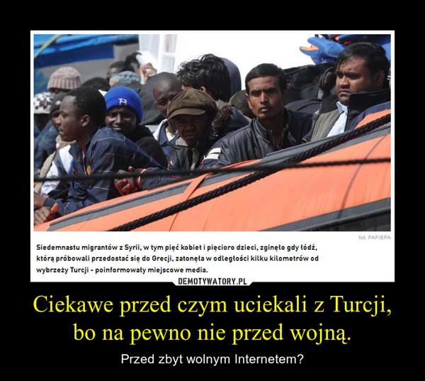 Ciekawe przed czym uciekali z Turcji, bo na pewno nie przed wojną. – Przed zbyt wolnym Internetem? Siedemnastu migrantów z Syrii, w tym pięć kobiet i pięcioro dzieci, zginęło gdy łódź, którą próbowali przedostać się do Grecji, zatonęła w odległości kilku kilometrów od wybrzeży Turcji - poinformowały miejscowe media.