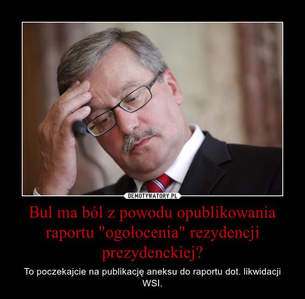 """Bul ma ból z powodu opublikowania raportu """"ogołocenia"""" rezydencji prezydenckiej? – To poczekajcie na publikację aneksu do raportu dot. likwidacji WSI."""