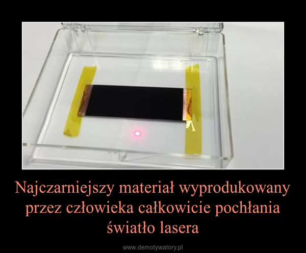 Najczarniejszy materiał wyprodukowany przez człowieka całkowicie pochłania światło lasera –