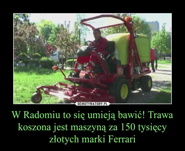 W Radomiu to się umieją bawić! Trawa koszona jest maszyną za 150 tysięcy złotych marki Ferrari –