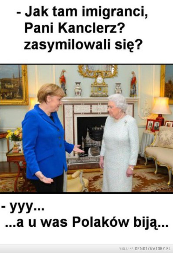 Kiedy brakuje argumentów... –  - Jak tam imigranci,Pani Kanclerz?zasymilowali się?yyy......a u was Polaków biją...