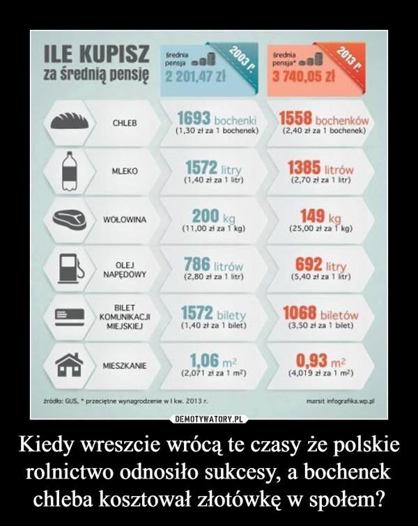 Kiedy wreszcie wrócą te czasy że polskie rolnictwo odnosiło sukcesy, a bochenek chleba kosztował złotówkę w społem? –