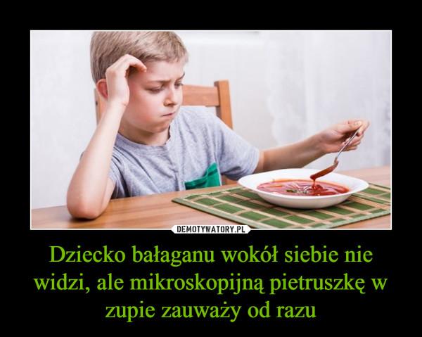 Dziecko bałaganu wokół siebie nie widzi, ale mikroskopijną pietruszkę w zupie zauważy od razu –