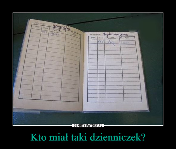 Kto miał taki dzienniczek? –