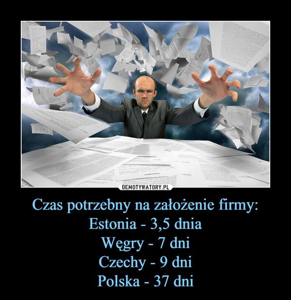 Czas potrzebny na założenie firmy:Estonia - 3,5 dniaWęgry - 7 dniCzechy - 9 dniPolska - 37 dni –