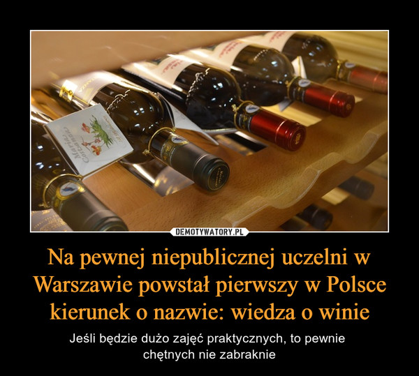Na pewnej niepublicznej uczelni w Warszawie powstał pierwszy w Polsce kierunek o nazwie: wiedza o winie – Jeśli będzie dużo zajęć praktycznych, to pewnie chętnych nie zabraknie