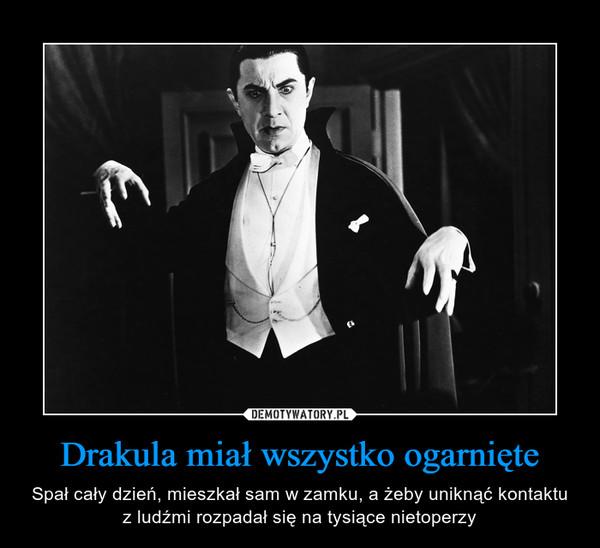 Drakula miał wszystko ogarnięte – Spał cały dzień, mieszkał sam w zamku, a żeby uniknąć kontaktu z ludźmi rozpadał się na tysiące nietoperzy