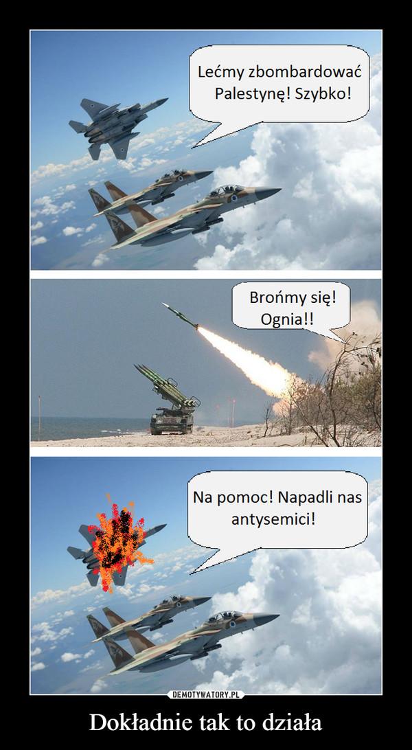 Dokładnie tak to działa –  Lećmv zbombardowaćPalestynę! Szybko!Brońmy się!Ognia!!Na pomoc! Napadli nasantysemici!