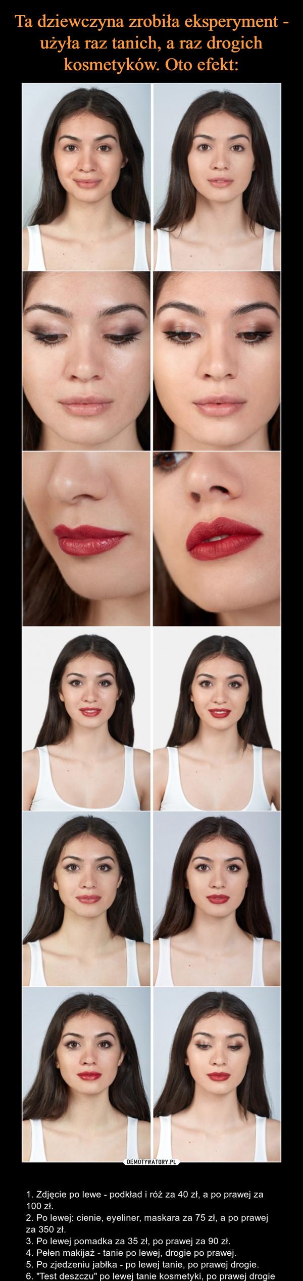 """– 1. Zdjęcie po lewe - podkład i róż za 40 zł, a po prawej za 100 zł.2. Po lewej: cienie, eyeliner, maskara za 75 zł, a po prawej za 350 zł.3. Po lewej pomadka za 35 zł, po prawej za 90 zł.4. Pełen makijaż - tanie po lewej, drogie po prawej.5. Po zjedzeniu jabłka - po lewej tanie, po prawej drogie.6. """"Test deszczu"""" po lewej tanie kosmetyki, po prawej drogie"""