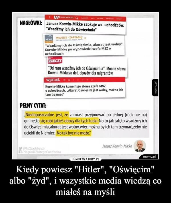 """Kiedy powiesz """"Hitler"""", """"Oświęcim"""" albo """"żyd"""", i wszystkie media wiedzą co miałeś na myśli –"""