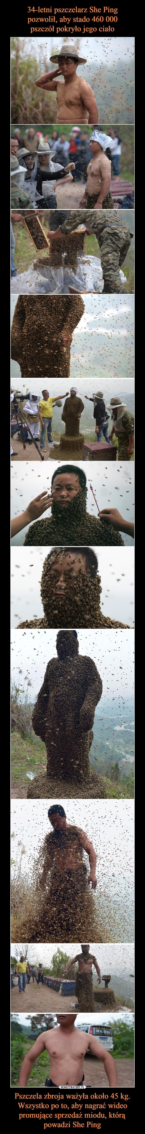 Pszczela zbroja ważyła około 45 kg. Wszystko po to, aby nagrać wideo promujące sprzedaż miodu, którą powadzi She Ping –