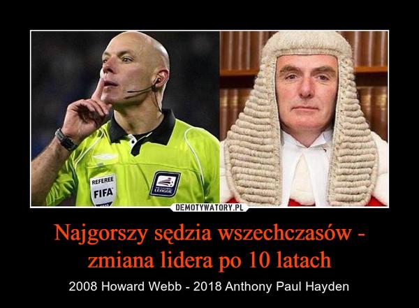 Najgorszy sędzia wszechczasów - zmiana lidera po 10 latach – 2008 Howard Webb - 2018 Anthony Paul Hayden
