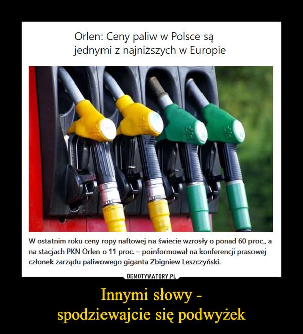 Innymi słowy -spodziewajcie się podwyżek –  Orlen: Ceny paliw w Polsce są jednymi z najniższych w Europie W ostatnim roku ceny ropy naftowej na świecie wzrosły o ponad 60 proc., a na stacjach PKN Orlen o 11 proc. – poinformował na konferencji prasowej członek zarządu paliwowego giganta Zbigniew Leszczyński.