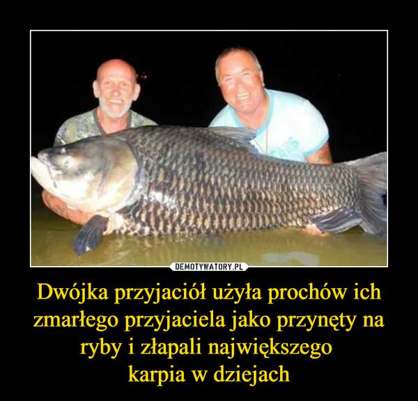 Dwójka przyjaciół użyła prochów ich zmarłego przyjaciela jako przynęty na ryby i złapali największego karpia w dziejach –