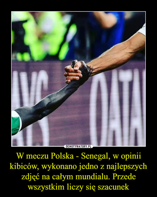 W meczu Polska - Senegal, w opinii kibiców, wykonano jedno z najlepszych zdjęć na całym mundialu. Przede wszystkim liczy się szacunek –