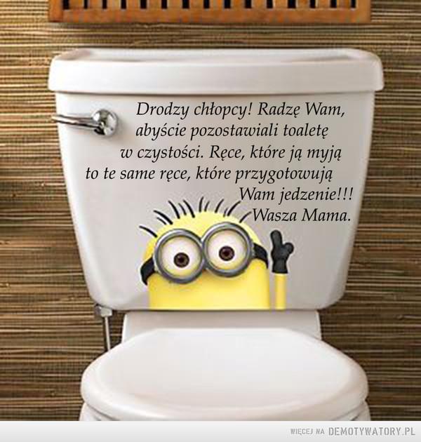 Do chłopców... –  Drodzy chłopcy! Radze Wam,w czystości. Rece, które ją myjąWasza Mamaabyście pozostawiali toaleteto te same rece, które przygotowująWam jedzenie!!!