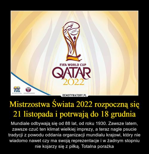Mistrzostwa Świata 2022 rozpoczną się 21 listopada i potrwają do 18 grudnia