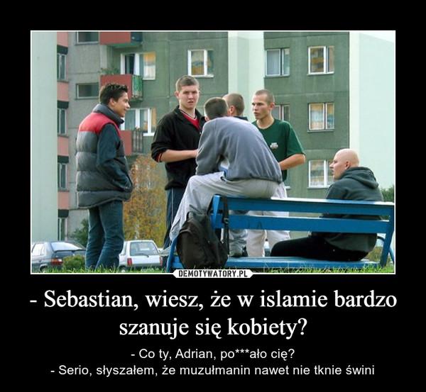 - Sebastian, wiesz, że w islamie bardzo szanuje się kobiety? – - Co ty, Adrian, po***ało cię?- Serio, słyszałem, że muzułmanin nawet nie tknie świni
