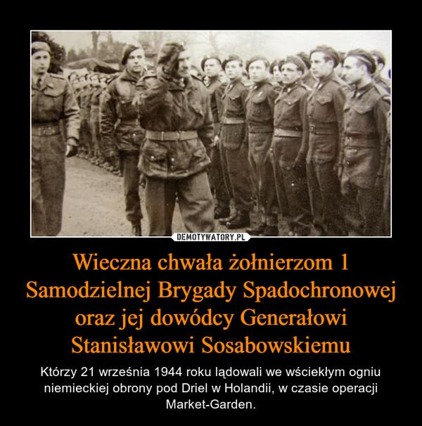 Wieczna chwała żołnierzom 1 Samodzielnej Brygady Spadochronowej oraz jej dowódcy Generałowi Stanisławowi Sosabowskiemu – Którzy 21 września 1944 roku lądowali we wściekłym ogniu niemieckiej obrony pod Driel w Holandii, w czasie operacji Market-Garden.