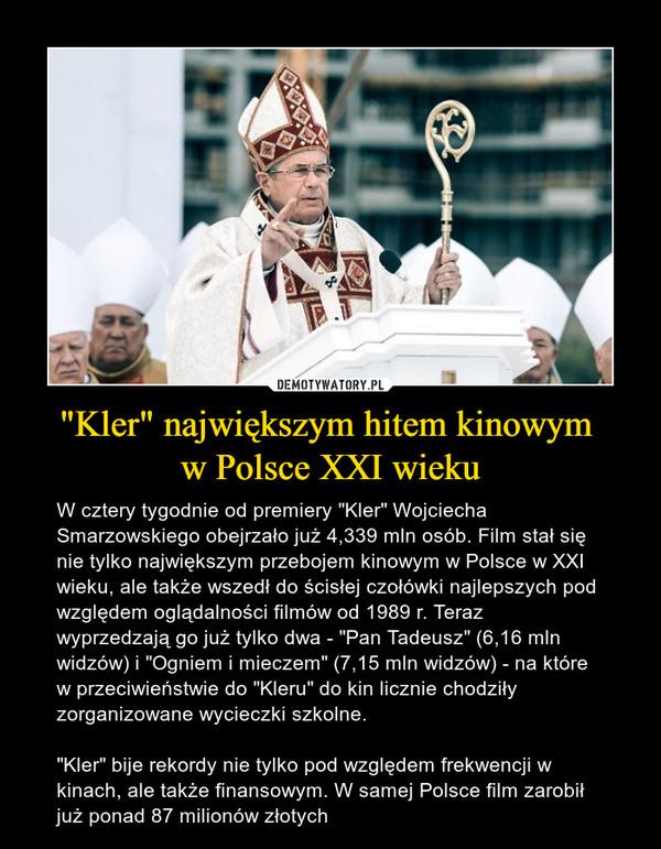 """""""Kler"""" największym hitem kinowym w Polsce XXI wieku – W cztery tygodnie od premiery """"Kler"""" Wojciecha Smarzowskiego obejrzało już 4,339 mln osób. Film stał się nie tylko największym przebojem kinowym w Polsce w XXI wieku, ale także wszedł do ścisłej czołówki najlepszych pod względem oglądalności filmów od 1989 r. Teraz wyprzedzają go już tylko dwa - """"Pan Tadeusz"""" (6,16 mln widzów) i """"Ogniem i mieczem"""" (7,15 mln widzów) - na które w przeciwieństwie do """"Kleru"""" do kin licznie chodziły zorganizowane wycieczki szkolne. """"Kler"""" bije rekordy nie tylko pod względem frekwencji w kinach, ale także finansowym. W samej Polsce film zarobił już ponad 87 milionów złotych"""