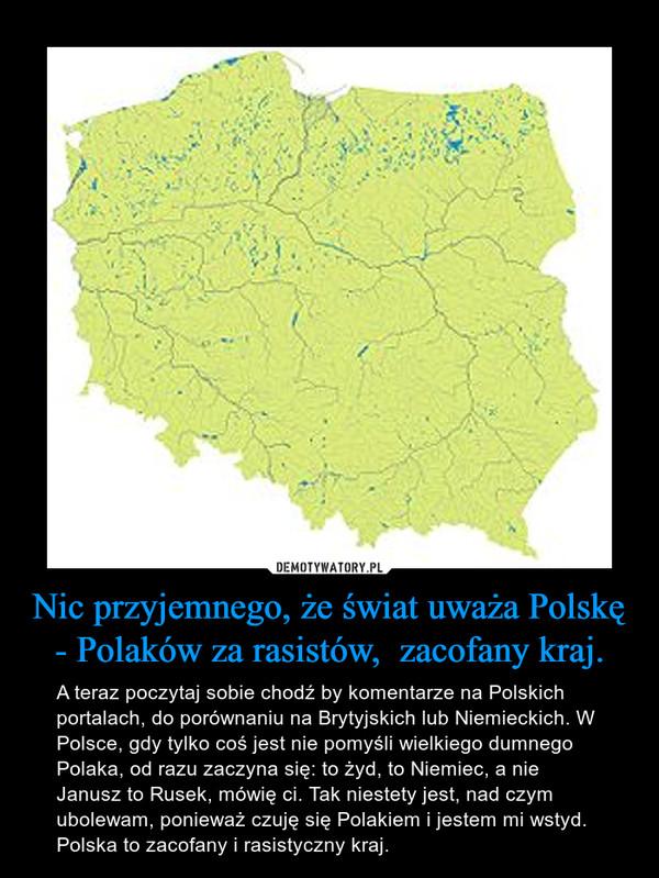 Nic przyjemnego, że świat uważa Polskę - Polaków za rasistów,  zacofany kraj. – A teraz poczytaj sobie chodź by komentarze na Polskich portalach, do porównaniu na Brytyjskich lub Niemieckich. W Polsce, gdy tylko coś jest nie pomyśli wielkiego dumnego Polaka, od razu zaczyna się: to żyd, to Niemiec, a nie Janusz to Rusek, mówię ci. Tak niestety jest, nad czym ubolewam, ponieważ czuję się Polakiem i jestem mi wstyd. Polska to zacofany i rasistyczny kraj.