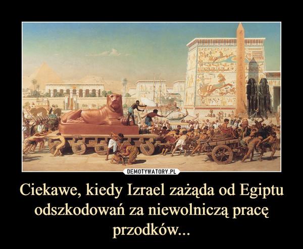 Ciekawe, kiedy Izrael zażąda od Egiptu odszkodowań za niewolniczą pracę przodków... –