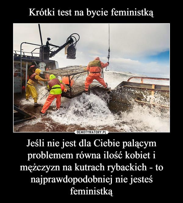 Jeśli nie jest dla Ciebie palącym problemem równa ilość kobiet i mężczyzn na kutrach rybackich - to najprawdopodobniej nie jesteś feministką –