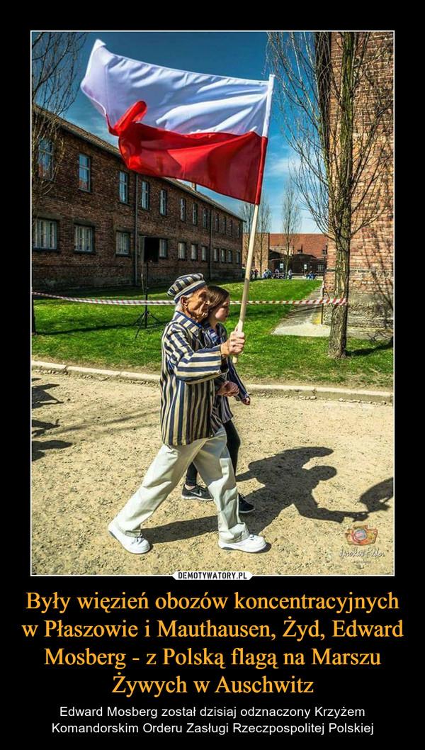 Były więzień obozów koncentracyjnych w Płaszowie i Mauthausen, Żyd, Edward Mosberg - z Polską flagą na Marszu Żywych w Auschwitz – Edward Mosberg został dzisiaj odznaczony Krzyżem Komandorskim Orderu Zasługi Rzeczpospolitej Polskiej