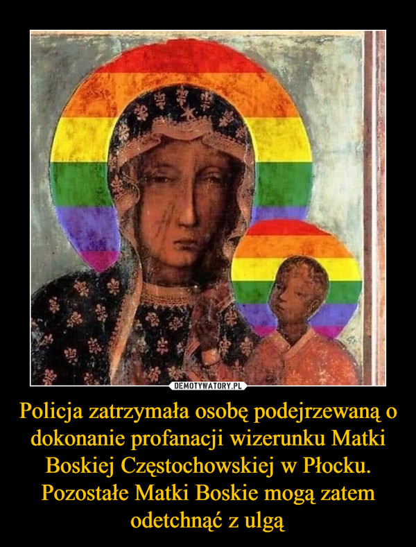 Policja zatrzymała osobę podejrzewaną o dokonanie profanacji wizerunku Matki Boskiej Częstochowskiej w Płocku. Pozostałe Matki Boskie mogą zatem odetchnąć z ulgą –